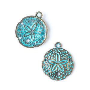 Sand Dollar Charms Sand Dollar Pendants Antiqued Bronze Charms Patina Charms Verdigris Charms Bronze Sand Dollar Nautical Charms 10 pieces