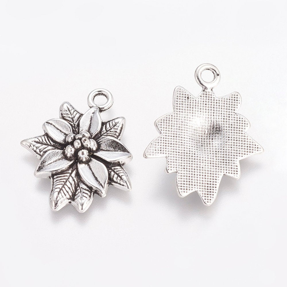 Poinsettia Charms Antiqued Silver Flower Charms Flower Findings Christmas Charms Garden Charms Poinsettia Flower 5pcs
