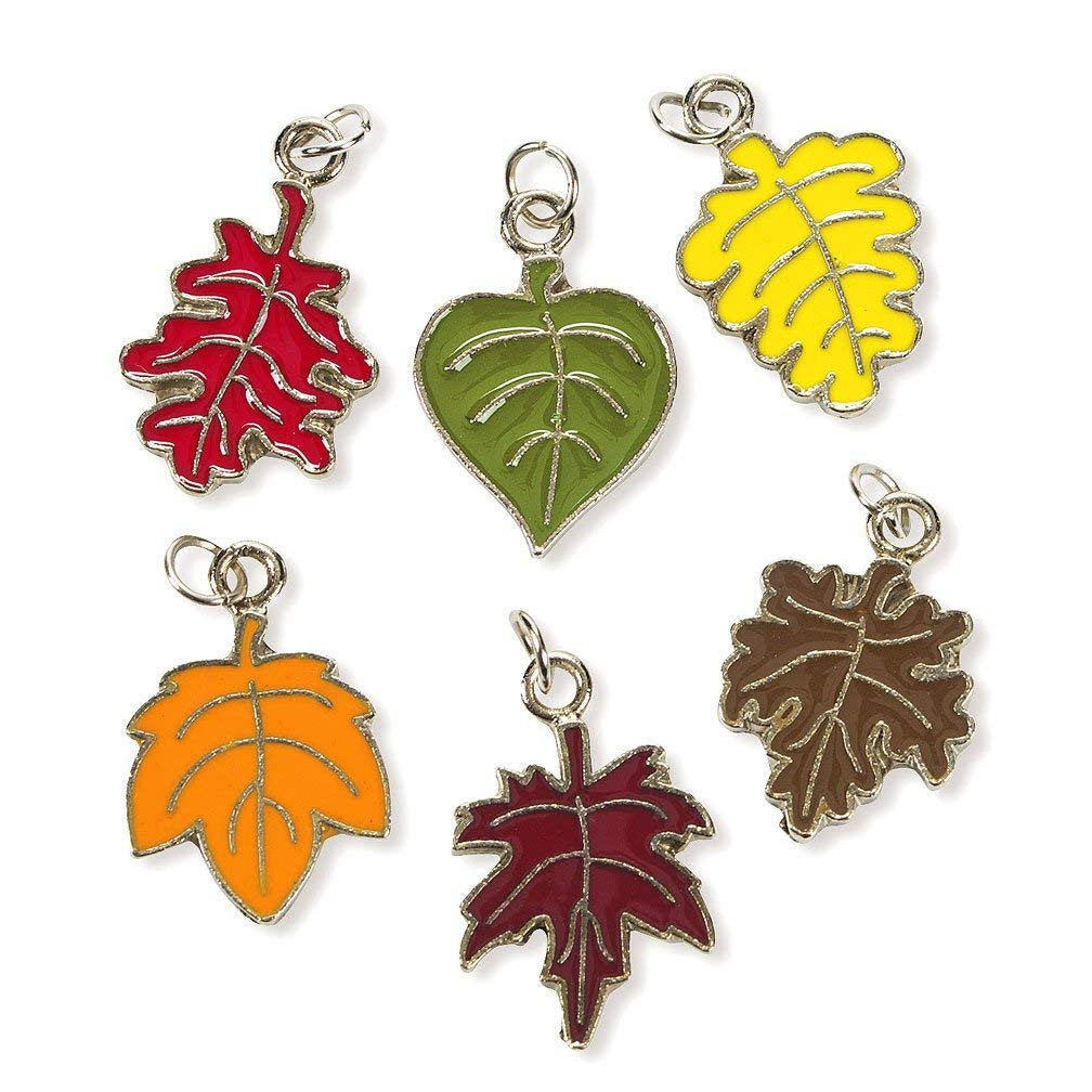 Fall Leaf Charms Enamel Charms Silver Enamel Charms Assorted Charms Assorted Leaf Charms Fall Leaves Charms with Rings BULK Charms 36pcs