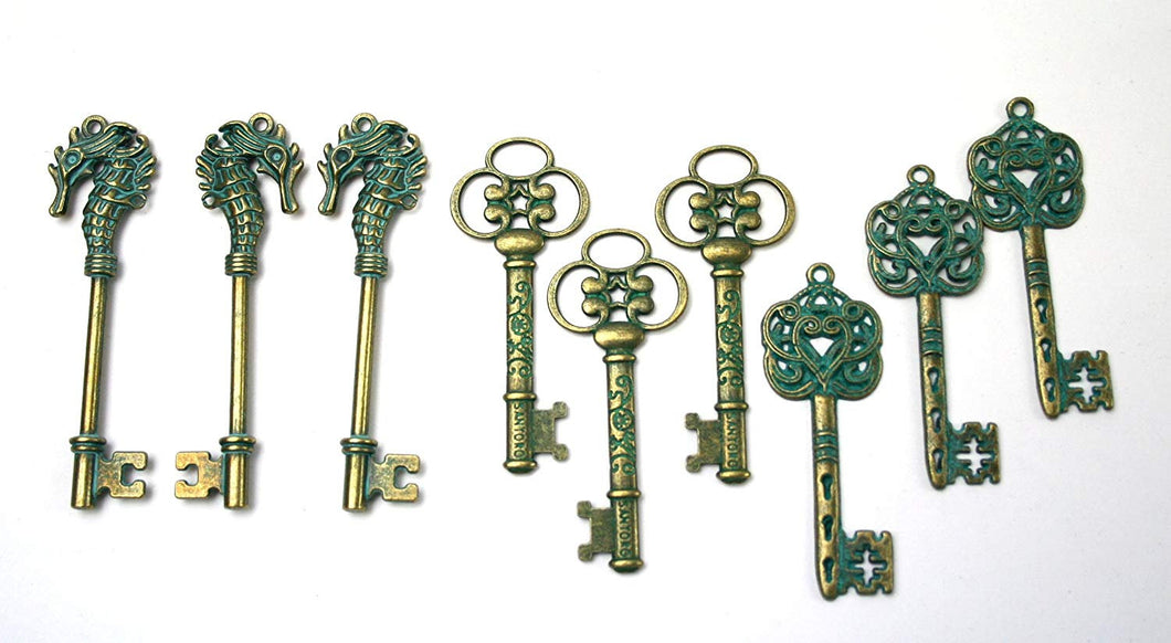 Patina Key Pendants Key Charms Antiqued Bronze Verdigris Patina Keys Assorted Skeleton Keys Big Keys Seahorse Key Unique Keys 9pcs