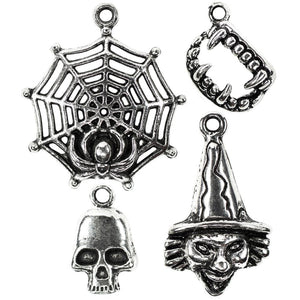 Halloween Charms Set Antiqued Silver Assorted Charms Mixed Charms Lot October Charms Holiday Charms 4pcs