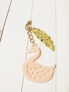 Swan Pendant Clip on Charm Dangle Charm Clip Pink Swan Charm Leaf Pendants Long Chain Pendant 3 5/8""