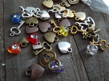 Load image into Gallery viewer, Heart Charms Heart Beads Assorted Charms Set Heart Themed Charms BULK Charms Wholesale Charms Antiqued Silver Gold Bronze Copper Charms 50pc