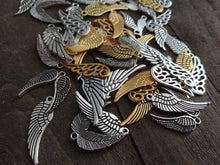 Load image into Gallery viewer, Angel Wing Charms Set Angel Wings Assorted Wing Charms Wing Pendants BULK Charms Wholesale Charms Antiqued Silver Wing Charms Gold Wings 50