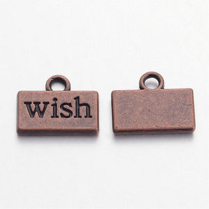 Word Charms Wish Charms Antiqued Copper Word Charms Copper Wish Charms Wish Pendants Inspirational Charms 4 pieces