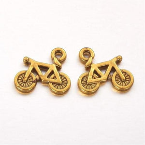 Bicycle Charms Antiqued Gold Bicycle Charms Biking Charms Gold Charms Cycling Charms Bicycle Pendants 2pcs