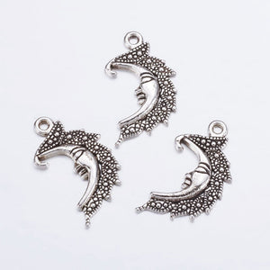 Silver Moon Charms Antiqued Silver Charms Crescent Moon Pendants Man In the Moon Celestial Charms Sky Charms 3pcs