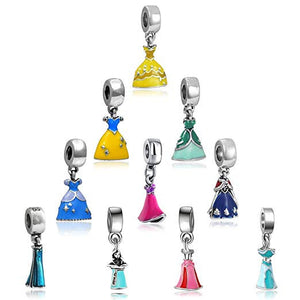 Princess Charms Princess Dress Charms Big Hole Beads European Beads Large Hole Beads Dangle Charms Princess Beads 10pcs