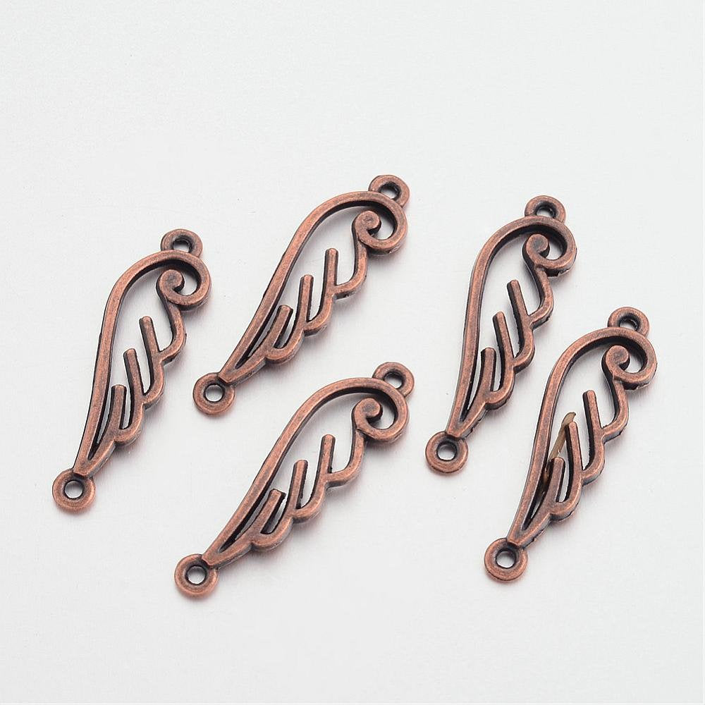 Angel Wing Connectors Charms Angel Wing Pendants Antiqued Copper Wings 33mm Double Sided Wing Charms Wing Links 10 pieces 2 Holes