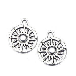 Celestial Charms Celestial Pendants Silver Charms Set Antiqued Silver Sun Charms Sun Pendants Moon Charms 50pcs BULK Charms