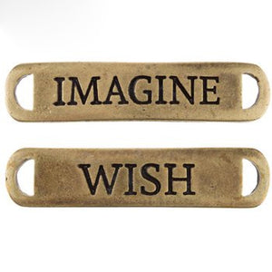 Word Pendants Word Connectors Antiqued Bronze Word Charms Word Link Pendants Imagine Pendant Wish Pendant Fairy Tale Charms PREORDER