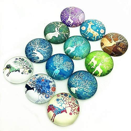Deer Cabochons Christmas Cabochons Winter Cabochons Photo Glass Flatbacks Domed Flat Backs Assorted Cabochons 25mm Glass Cabochons 12pcs