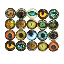 Load image into Gallery viewer, Eye Cabochons Round Glass Cabochons Assorted Eyes 40mm Flat Back Embellishments Dragon Eye Cabochons Animal Eyes 20pcs