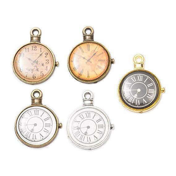 Clock Pendants Antiqued Silver Clock Charms Bronze Gold Enamel Charms Steampunk Pendants Roman Numerals Pocket Watch Miniature Clocks 15pcs