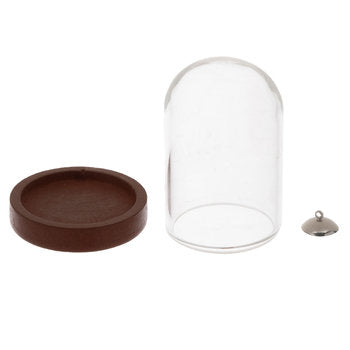 Cloche Pendant Glass Vial with Base Dome Glass Vial Set Terrarium Vial Kit Necklace Vial Bottle Necklace Kit DIY Craft
