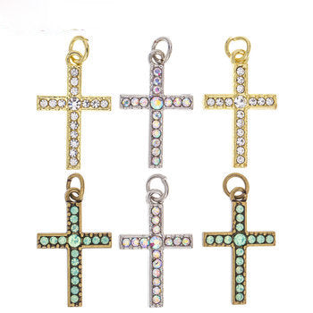 Rhinestone Cross Charms Gold Cross Pendants Crystal Cross Charms with Jump Rings Assorted Cross Charms 6pcs
