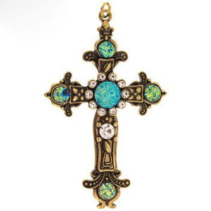 Large Cross Pendant Antiqued Gold Cross Charm Druzy Charm Vintage Style Focal Pendant Religious Charm Ornate Cross 2 7/8""