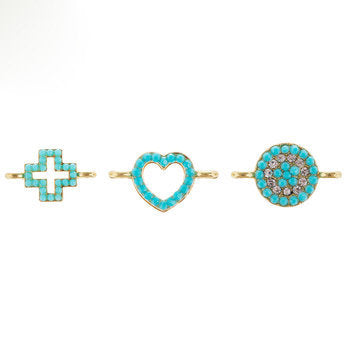 Connector Charms Gold Link Charms Turquoise Charms Heart Connector Small Link Charms Connector Pendants Set Gold Charms 3pcs