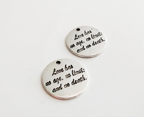 Quote Charms Word Pendants Antiqued Silver Pendants Word Charms Silver Word Charms Love Has No Age No Limit and No Death 4 pieces