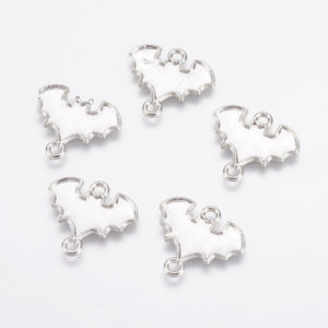 Bat Charms Connector Pendants Antiqued Silver Bat Charms 2 Hole Charms Link Connectors Halloween Charms Findings 5pcs