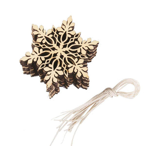 Blank Wooden Ornaments Wood Blanks Ornament Blanks Snowflake Blank Wood Canvas Christmas Ornaments DIY Crafts with String 10pcs + String
