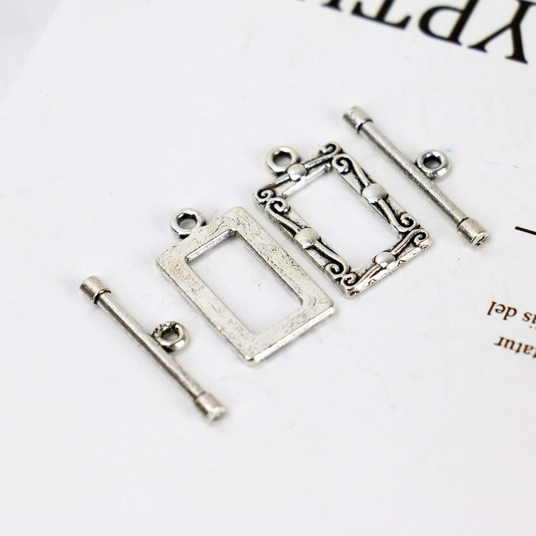 Toggle Clasps T Clasps Heart Clasps Bracelet Clasps Rectangle Toggle Clasps Silver Clasps Wholesale Clasps Findings 50 sets