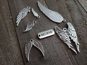 Angel Wing Charms Set Antiqued Silver Angel Charms I Believe In Angels Word Charm Assorted Charms Themed Charms Lot 7pcs