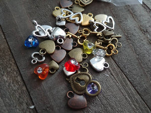 Heart Charms Heart Beads Assorted Charms Set Heart Themed Charms BULK Charms Wholesale Charms Antiqued Silver Gold Bronze Copper Charms 50pc