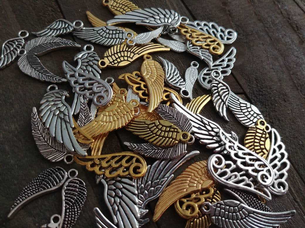 Angel Wing Charms Set Angel Wings Assorted Wing Charms Wing Pendants BULK Charms Wholesale Charms Antiqued Silver Wing Charms Gold Wings 50