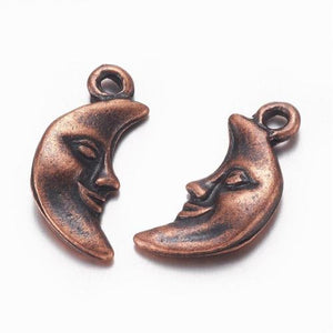 Copper Moon Charms Antiqued Copper Charms Crescent Moon Pendants Man In the Moon Celestial Charms Sky Charms 3pcs