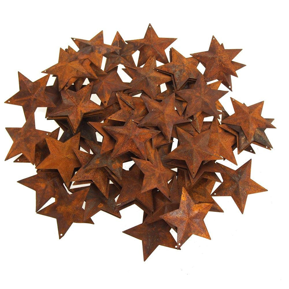 Rusty Star Ornaments Metal Star Ornament Blanks Rusty Metal Stars Christmas Ornaments DIY Crafts BULK 100pcs 2.25