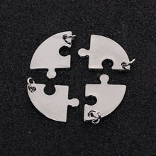 Load image into Gallery viewer, Puzzle Charms Set Antiqued Silver Puzzle Charms Puzzle Piece Charms Best Friends Charms 4 Piece Puzzle Charms Metal Stamping Blanks