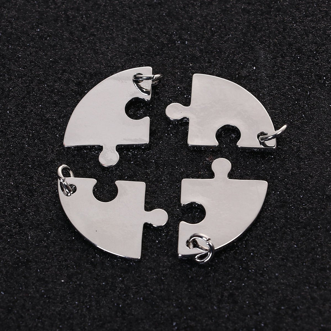 Puzzle Charms Set Antiqued Silver Puzzle Charms Puzzle Piece Charms Best Friends Charms 4 Piece Puzzle Charms Metal Stamping Blanks