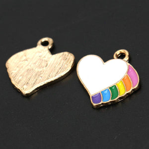 Enamel Heart Charms Rainbow Heart Charms Unicorn Charms Gold Enamel Charms Valentines Charms Gold Charms Enamel Hearts 20pcs