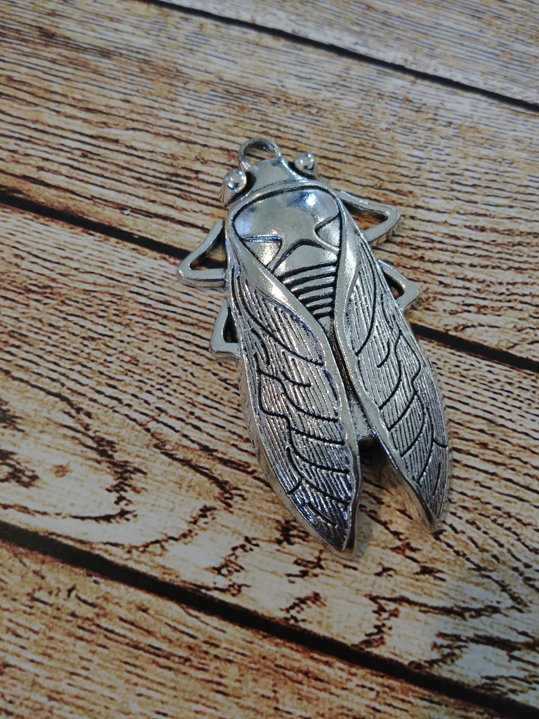 Cicada Pendant Antiqued Silver Bug Charm Bug Pendant Cicada Charm Silver Pendant Entomology Charm Large Focal Pendant Focal Charm 61mm