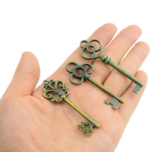 "Bulk Skeleton Keys Steampunk Keys Pendants Patina Keys Bronze Key Pendants Large Key Pendants 2"" to 2.4"" 30 pieces Wholesale"