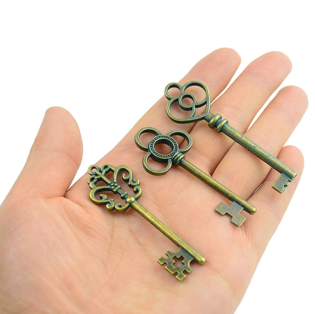 Bulk Skeleton Keys Steampunk Keys Pendants Patina Keys Bronze Key Pendants Large Key Pendants 2