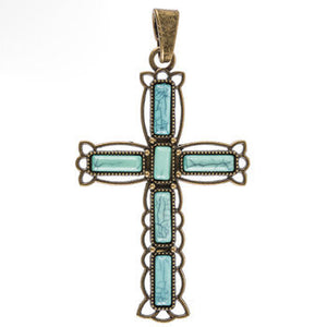 "Large Cross Pendant Antiqued Bronze Cross Charm Turquoise Cross Vintage Style Focal Pendant Religious Charm Ornate Cross 3 3/16"" PREORDER"