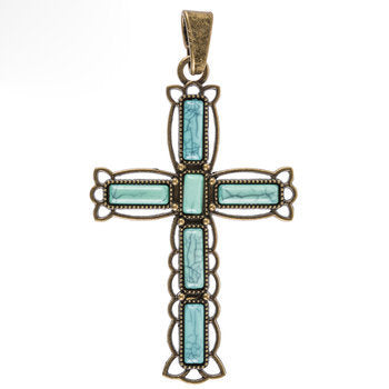 Large Cross Pendant Antiqued Bronze Cross Charm Turquoise Cross Vintage Style Focal Pendant Religious Charm Ornate Cross 3 3/16