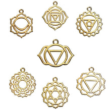 Load image into Gallery viewer, Gold Chakra Pendants Assorted Charms Lot Chakra Charms Meditation Charms Assorted Pendants BULK Charms Gold Charms 21pcs