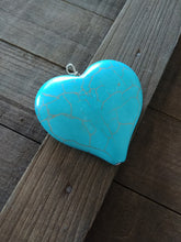 Load image into Gallery viewer, Large Heart Pendant Howlite Pendant Faux Turquoise Pendant Blue Turquoise Heart Charm Focal Pendant 43mm PREORDER