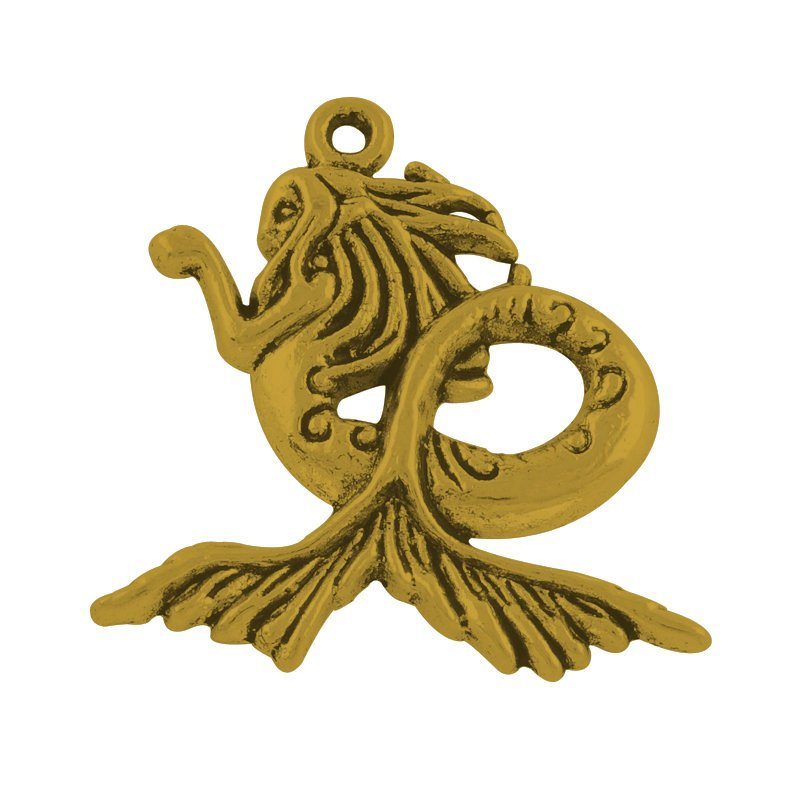 Mermaid Charm Mermaid Pendant Mermaid Siren Charm Focal Pendant Antiqued Gold Pendant Large Focal Pendant Fairy Tale Pendant 29mm