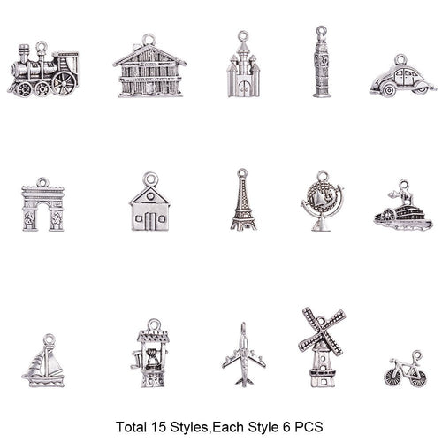 Travel Charms Set Antiqued Silver Charms Adventure Charms World Traveler Assorted Charms Set BULK Charms Wholesale Charms 90pcs