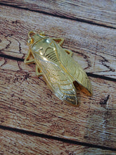 Load image into Gallery viewer, Cicada Pendant Gold Bug Charm Bug Pendant Cicada Charm Gold Pendant Entomology Charm Large Focal Pendant Focal Charm 61mm