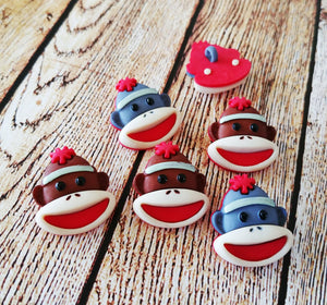 Sock Monkey Buttons Findings Sock Monkey Set Grey Sock Monkey Brown Sock Monkey Shank Buttons Set 6pcs