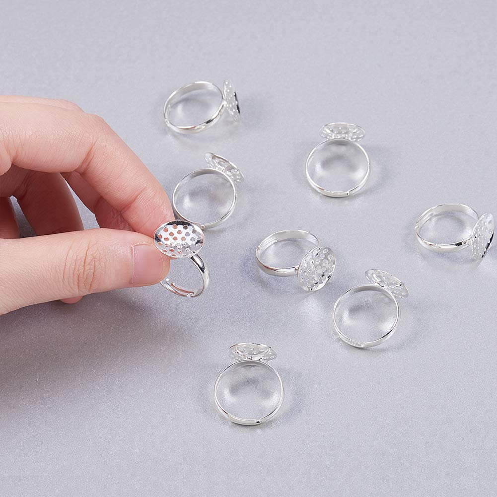 Ring Blanks Silver Adjustable Rings Blank Rings 10 Pieces For Flower and Gems Brass Wholesale Rings Silver Ring Blanks Ring Bases