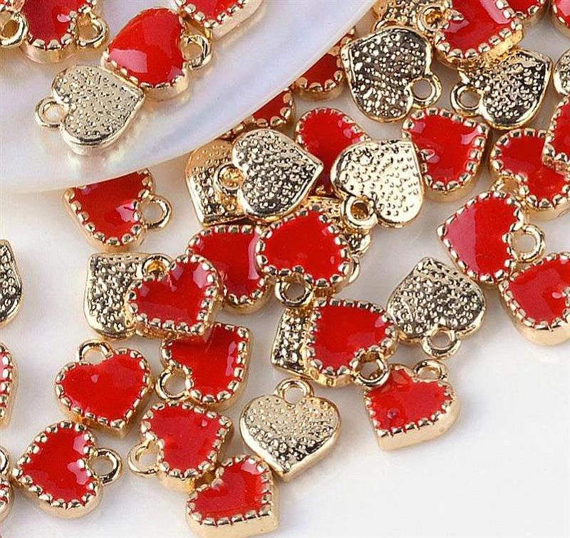 Heart Charms Enamel Charms Gold Heart Charms Tiny Heart Charms Red Heart Charms Red Enamel Charms Gold Charms BULK 100pcs