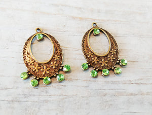 Chandelier Charms Antiqued Bronze Chandelier Findings Chandelier Earring Charms Jeweled Chandelier Green Bronze Charms 2pcs
