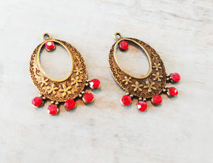 Chandelier Charms Antiqued Bronze Chandelier Findings Chandelier Earring Charms Jeweled Chandelier Red Bronze Charms 2pcs