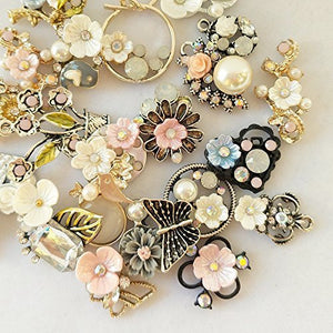 Floral Charms Set Vintage Style Charms Assorted Charms Lot Mixed Charms Flower Pendants Gold Charms Set 20pcs